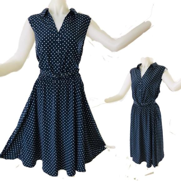 Charter Club Dresses & Skirts - Classic Navy + White Polka Dot Sleeveless Dress
